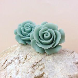 Acrylic Blue Rose Earrings Handmade